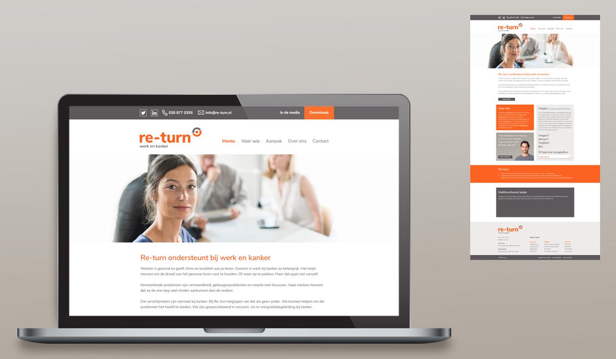 Re-turn (restyle identiteit, doorvertaling naar huisstijl, folders en website etc.)